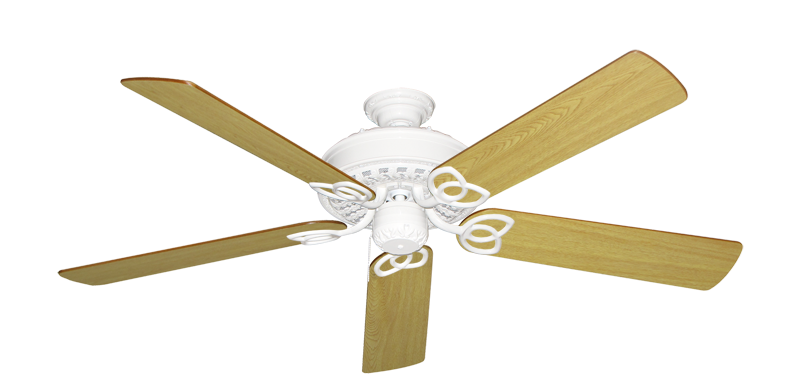 """Picture of Renaissance Pure White with 56"""" Honey Oak Blades"""