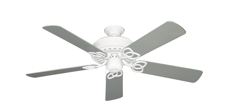 "Picture of Renaissance Pure White with 52"" Outdoor Brushed Nickel Blades"