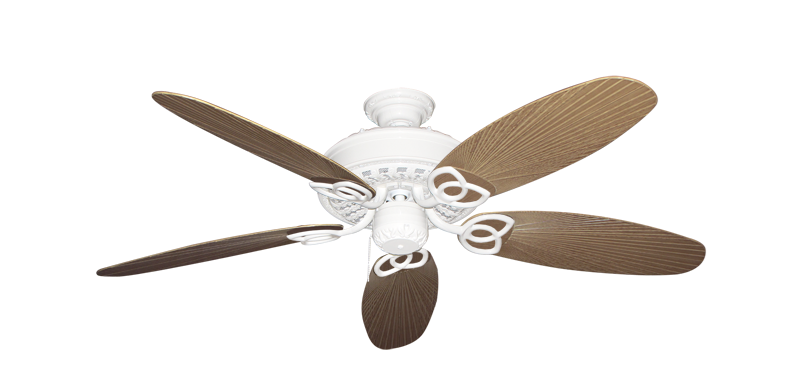 """Picture of Renaissance Pure White with 52"""" Outdoor Leaf Tan Blades"""