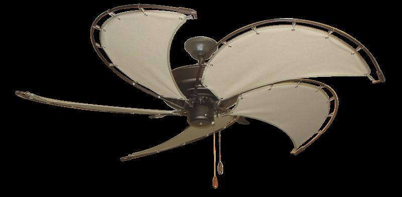 "Raindance Oil Rubbed Bronze with 52"" Nautical Fabric Khaki Blades (add $99.99)"