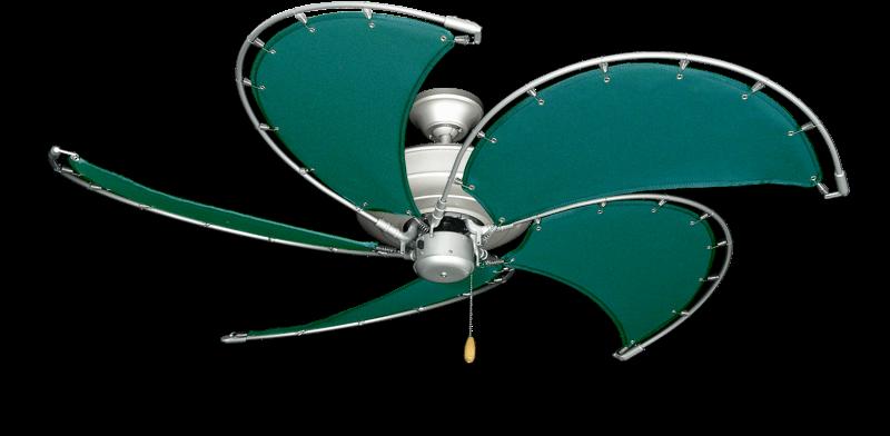 "Raindance Brushed Nickel BN-1 with 52"" Nautical Fabric Green Blades"