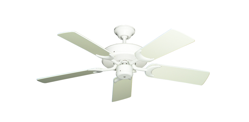 """Picture of Patio Fan Pure White with 44"""" Antique White Blades"""