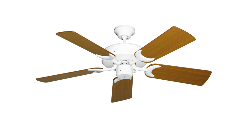 """Picture of Patio Fan Pure White with 44"""" Teak Blades"""