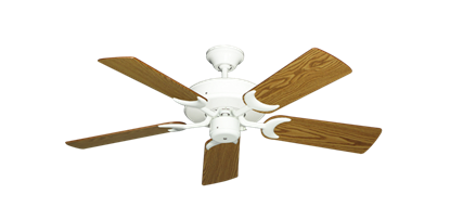 "Picture of Patio Fan Pure White with 44"" Oak Blades"