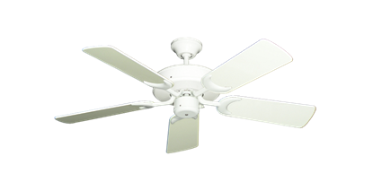 "Picture of Patio Fan Pure White with 44"" Antique White Gloss Blades"