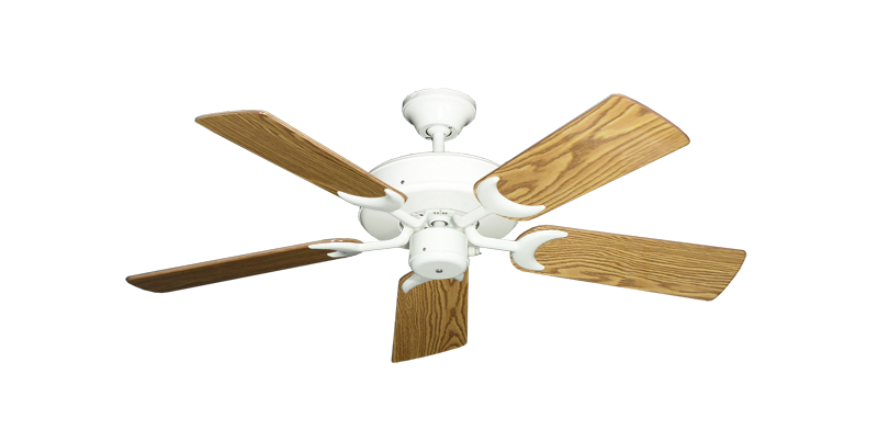 "Picture of Patio Fan Pure White with 44"" Oak Gloss Blades"