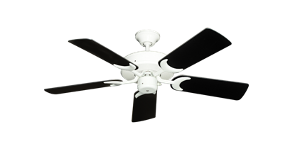"Picture of Patio Fan Pure White with 44"" Black Blades"