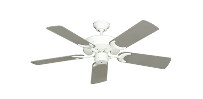 "Picture of Patio Fan Pure White with 44"" Satin Steel (painted) Blades"