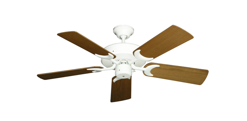 "Picture of Patio Fan Pure White with 44"" Light Oak Blades"