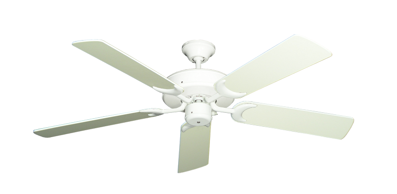"Picture of Patio Fan Pure White with 52"" Antique White Blades"