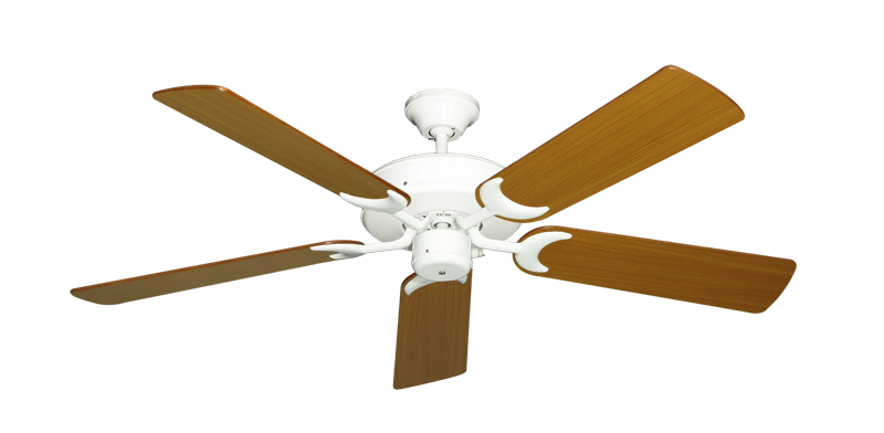 "Picture of Patio Fan Pure White with 52"" Teak Blades"