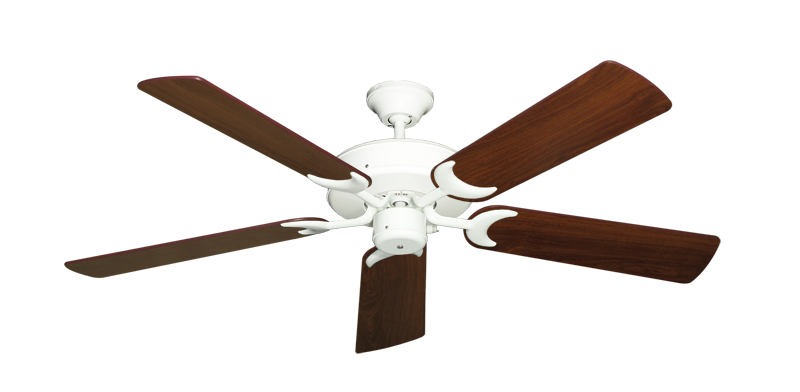 """Picture of Patio Fan Pure White with 52"""" Walnut Blades"""