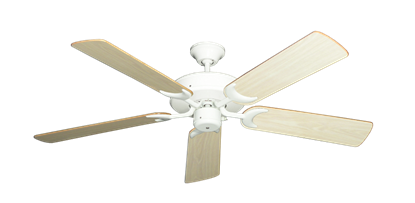 "Picture of Patio Fan Pure White with 52"" Bleached Oak Gloss Blades"