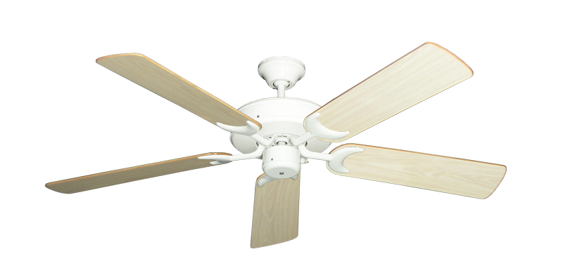 """Picture of Patio Fan Pure White with 52"""" Bleached Oak Gloss Blades"""