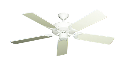 "Picture of Patio Fan Pure White with 52"" Antique White Gloss Blades"