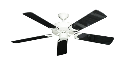 "Picture of Patio Fan Pure White with 52"" Black Gloss Blades"