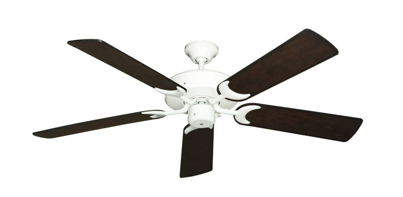 """Picture of Patio Fan Pure White with 52"""" Distressed Walnut Blades"""