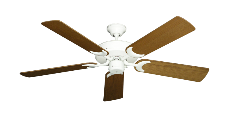 """Picture of Patio Fan Pure White with 52"""" Light Oak Blades"""