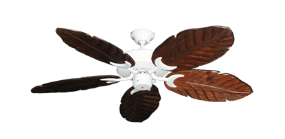 "Picture of Patio Fan Pure White with 52"" Series 125 Arbor Cherrywood Blades"