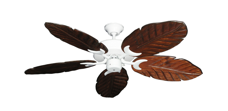 """Picture of Patio Fan Pure White with 52"""" Series 125 Arbor Cherrywood Blades"""