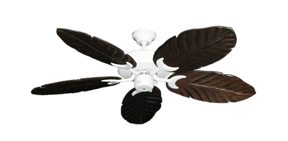 "Picture of Patio Fan Pure White with 52"" Series 125 Arbor Dark Walnut Blades"