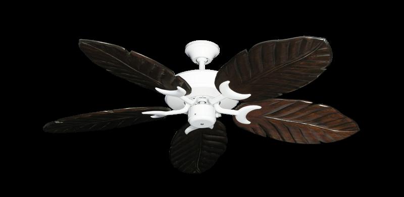 "Patio Fan Pure White with 52"" Series 125 Arbor Dark Walnut Blades"