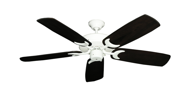 """Picture of Patio Fan Pure White with 52"""" Series 425 Arbor Dark Walnut Blades"""