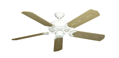 "Picture of Patio Fan Pure White with 52"" Outdoor Bleached Oak Blades"