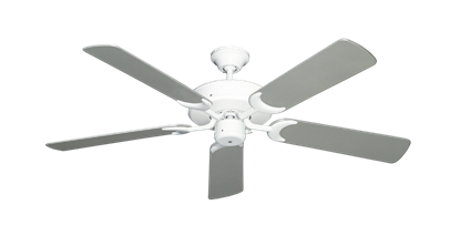 "Picture of Patio Fan Pure White with 52"" Outdoor Brushed Nickel Blades"