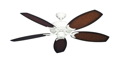 "Picture of Patio Fan Pure White with 52"" Outdoor Oar Aged Mahogany Blades"