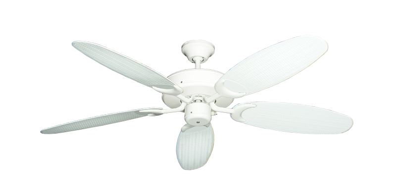 """Picture of Patio Fan Pure White with 52"""" Outdoor Wicker Pure White Blades"""