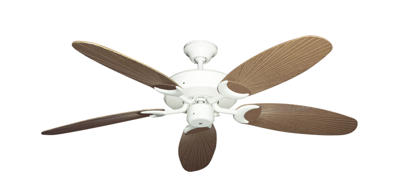 "Patio Fan Pure White with 52"" Outdoor Leaf Tan Blades"