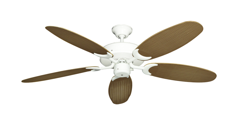 "Picture of Patio Fan Pure White with 52"" Outdoor Wicker Tan Blades"