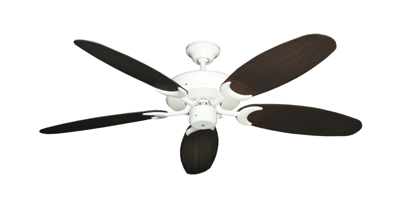 "Picture of Patio Fan Pure White with 52"" Outdoor Wicker Oil Rubbed Bronze Blades"