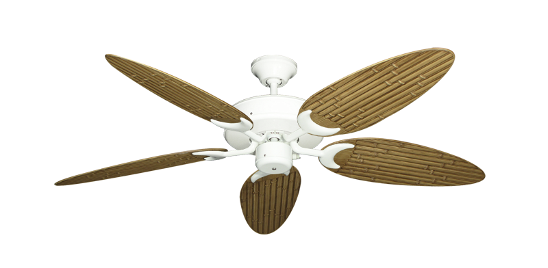 """Patio Fan Pure White with 52"""" Outdoor Bamboo Walnut Blades"""