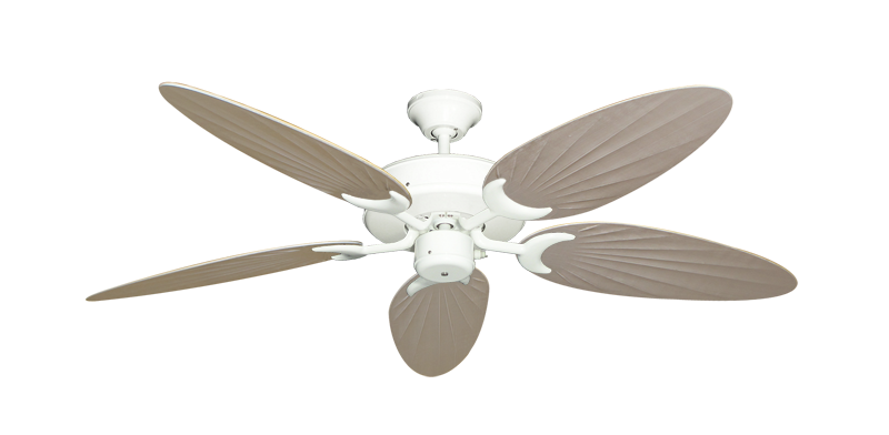 "Picture of Patio Fan Pure White with 52"" Outdoor Palm Distressed White Blades"