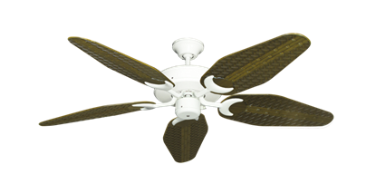 """Picture of Patio Fan Pure White with 52"""" Outdoor Weave Tigers Eye Blades"""