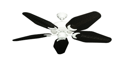 "Picture of Patio Fan Pure White with 52"" Outdoor Weave Oil Rubbed Bronze Blades"