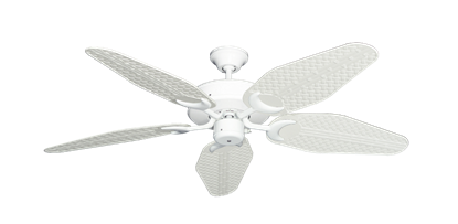 """Patio Fan Pure White with 52"""" Outdoor Weave Pure White Blades"""