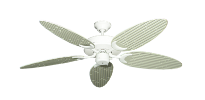 "Patio Fan Pure White with 52"" Outdoor Bamboo Antique White Blades"