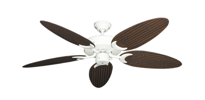 "Picture of Patio Fan Pure White with 52"" Outdoor Bamboo Oil Rubbed Bronze Blades"
