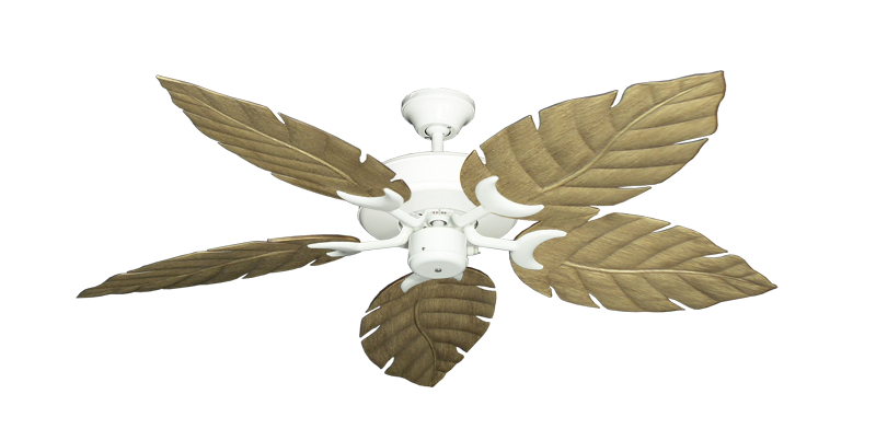 "Picture of Patio Fan Pure White with 52"" Venetian Walnut Blades"