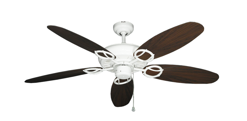 "Picture of Trinidad Pure White with 52"" Outdoor Leaf Oil Rubbed Bronze Blades"