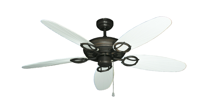 """Picture of Trinidad Oil Rubbed Bronze with 52"""" Outdoor Leaf Pure White Blades"""