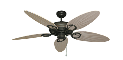 """Picture of Trinidad Oil Rubbed Bronze with 52"""" Outdoor Palm Distressed White Blades"""