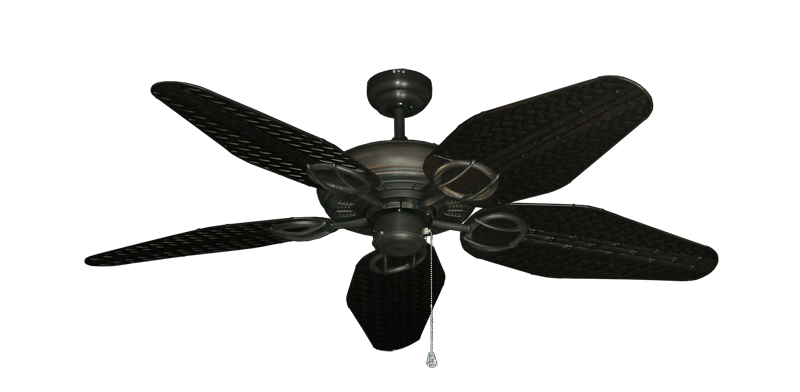 """Picture of Trinidad Oil Rubbed Bronze with 52"""" Outdoor Weave Oil Rubbed Bronze Blades"""