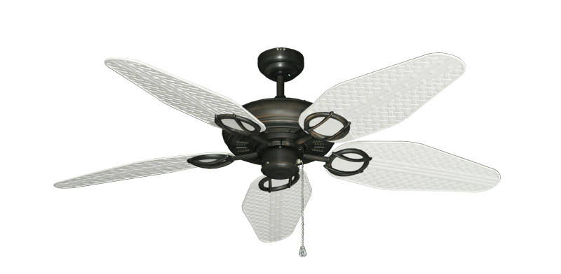 """Picture of Trinidad Oil Rubbed Bronze with 52"""" Outdoor Weave Pure White Blades"""