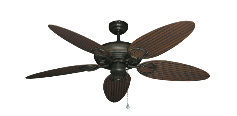 "Trinidad Oil Rubbed Bronze with 52"" Outdoor Bamboo Oil Rubbed Bronze Blades"