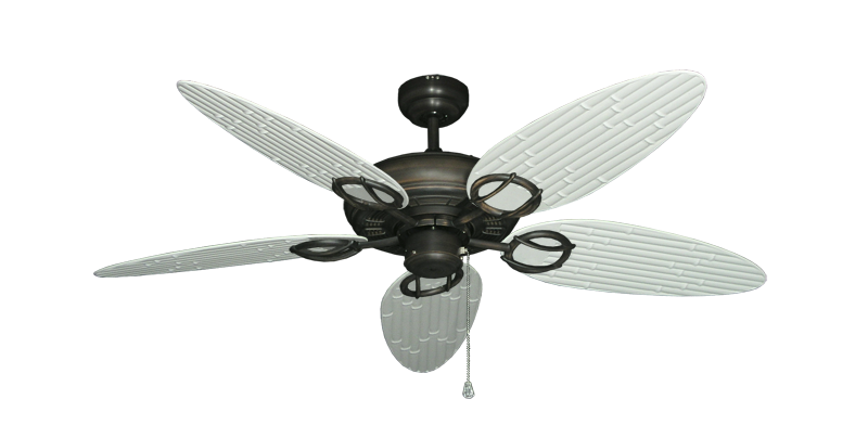 """Picture of Trinidad Oil Rubbed Bronze with 52"""" Outdoor Bamboo Pure White Blades"""