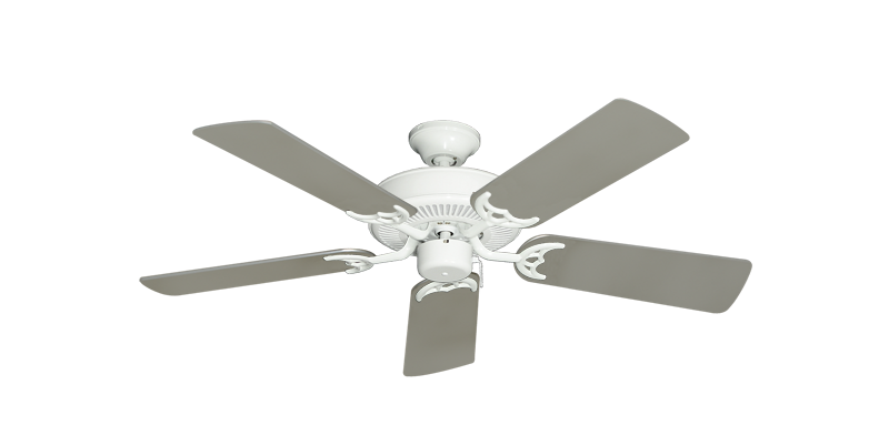 """Bermuda Breeze V Pure White with 44"""" Satin Steel (painted) Blades"""